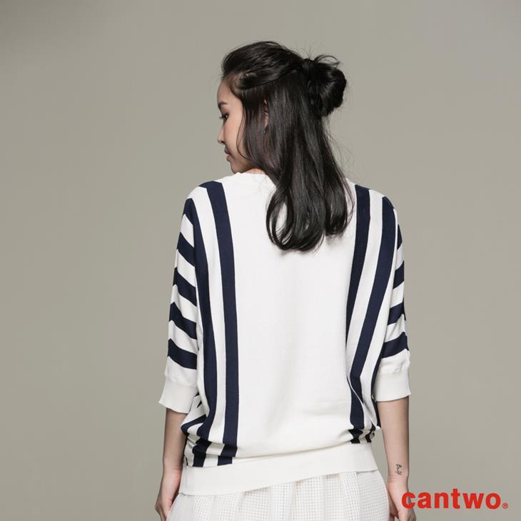 cantwo條紋落肩袖上衣(共二色) 3