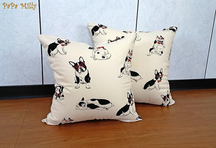 米粒爸爸~50x50白色鬥牛犬抱枕套 靠枕套 亞麻 任何尺寸皆可訂做