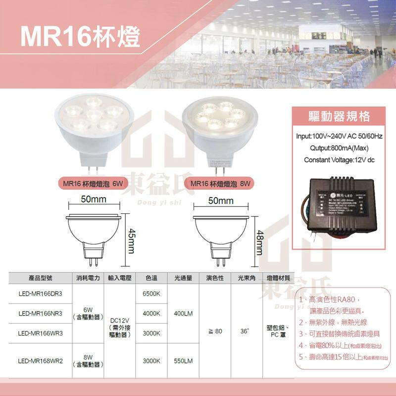 含稅 舞光LED MR16 專屬變壓器保固2年 6W 8W 杯燈投射燈泡 DC12V 36度 軌道燈泡【東益氏】