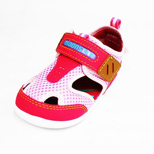 Moonstar日本品牌Carrot機能魔鬼氈童鞋涼鞋MSCNB874粉[陽光樂活]