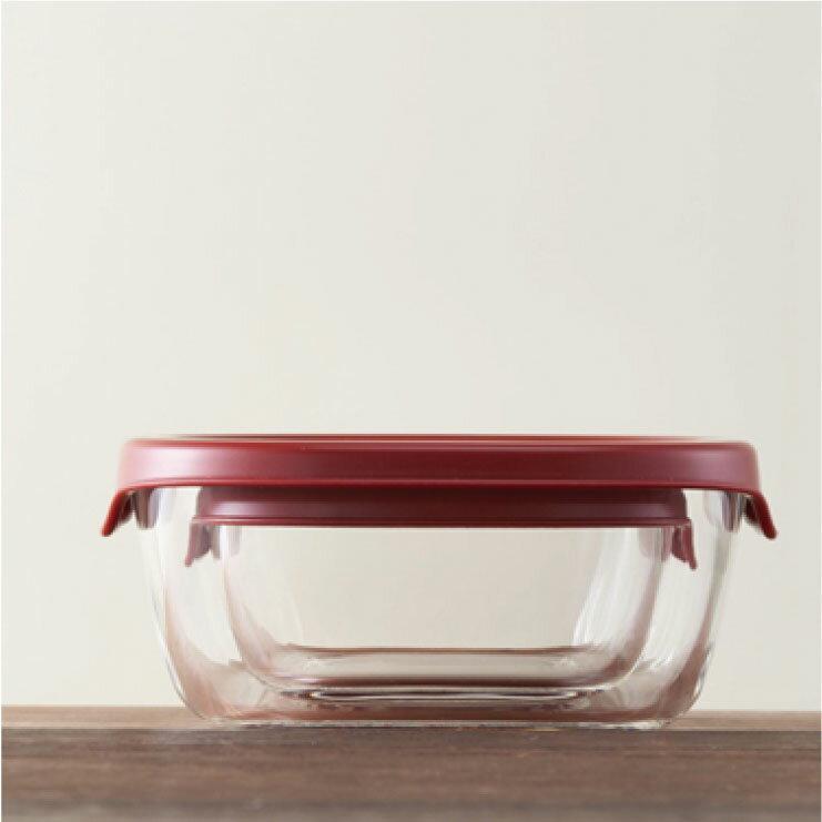 HARIO 方形玻璃保鮮盒3件組/紅色/KST-2012-R 4