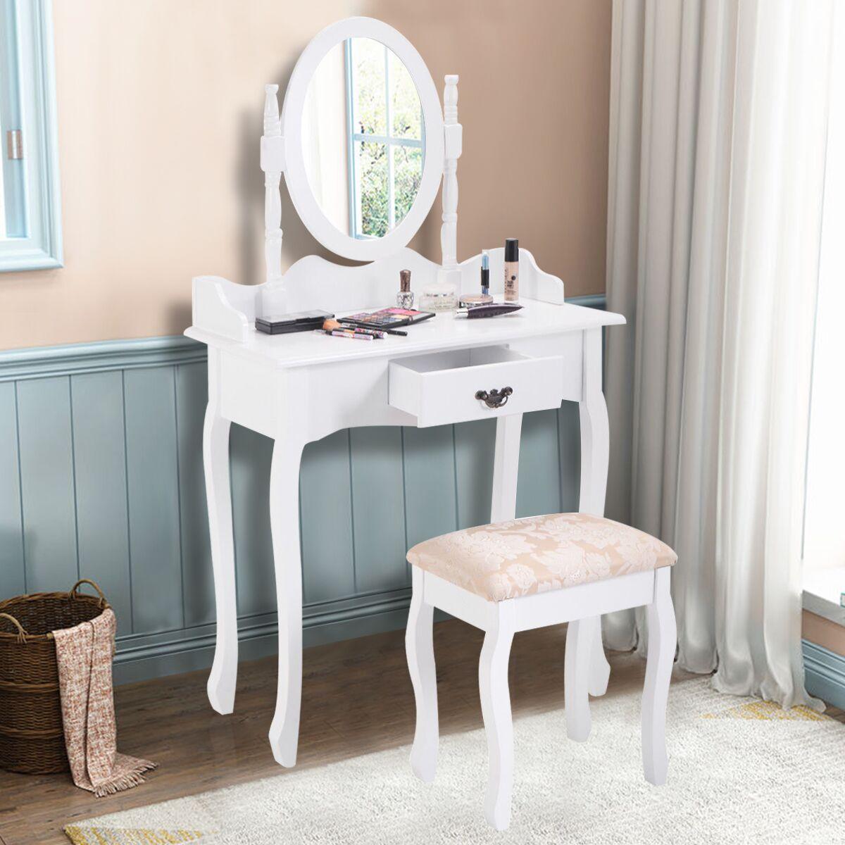 Costway Vanity Wood Makeup Dressing Table Stool Set Jewelry Desk W/ Drawer  U0026Mirror Bathroom White