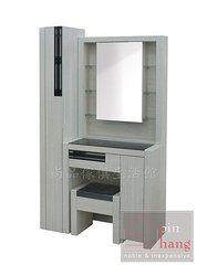 【 尚品傢俱】735-16 茉莉 雪白化妝鏡台組(化妝鏡台+立櫃,含椅)/化妝台組/梳妝台組
