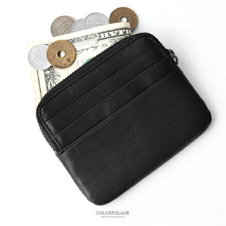 零錢包黑色質感真皮對折鈔票包卡片夾觸感柔軟舒適方便好攜帶柒彩年代【NW456】收納單品小物