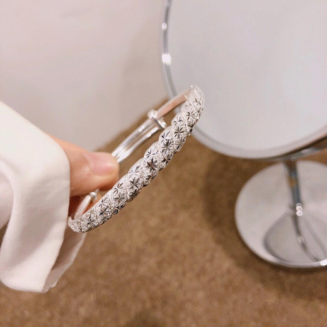 滿天星扭紋手鐲999足銀時尚簡約大氣送媽媽婆婆自戴 潮流居家館