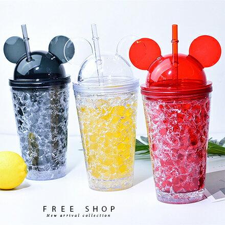Free Shop 清涼感冰塊米奇米妮耳朵造型設計吸管水杯手拿杯梅森瓶隨手杯創意碎冰杯【QBBJN6132】