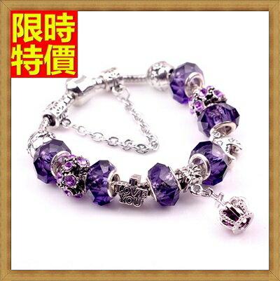 ~手鍊潘朵拉元素串珠手鍊925純銀~水晶飾品精美紫色皇冠  71o10~ ~~米蘭 ~