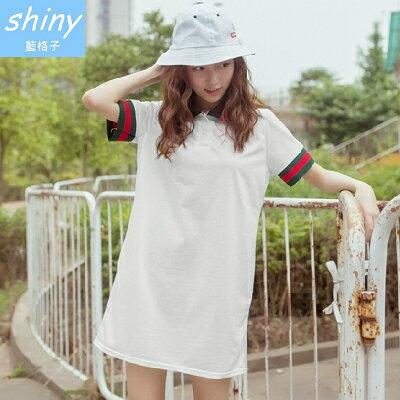 【V1051】shiny藍格子-時尚休閒.拼色條紋翻領短袖寬鬆連身裙