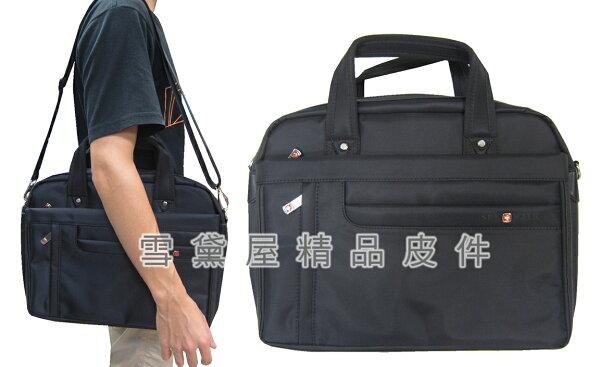 ~雪黛屋~SPYWALK文件包中容量可A4資料夾電腦主袋+外袋共六層二層主袋防水尼龍布+皮革提肩斜附長背帶SD1749