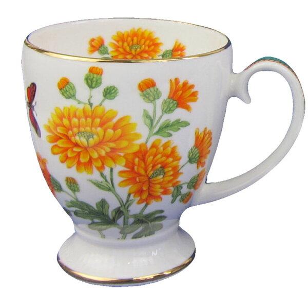 英倫之花系列骨瓷22K金AVON倒三角經典杯-菊花Chrysanthemum