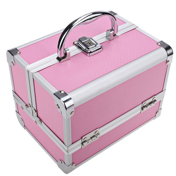 Mini Portable Aluminum Cosmetic Box + Mirror + 2 Keys 5