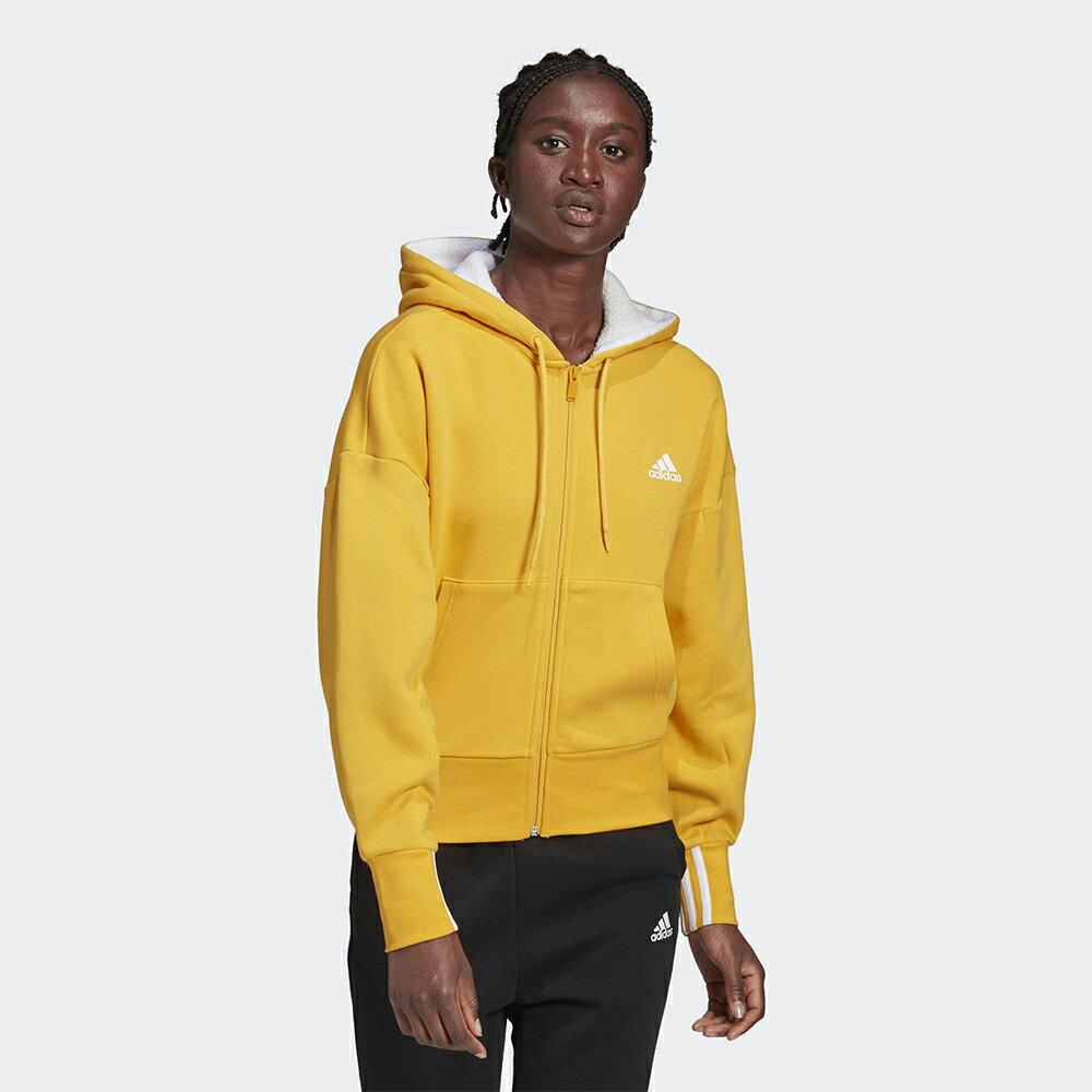 【領券最高折$300】Adidas BIG BADGE OF SPORT 女裝 外套 連帽 短版 口袋 綿羊絨 棉質 黃【運動世界】GC6977
