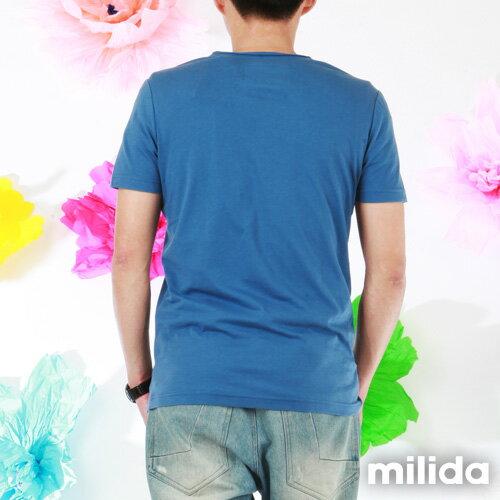 【Milida,全店七折免運】男生款-舒適圓領拼貼T恤 2