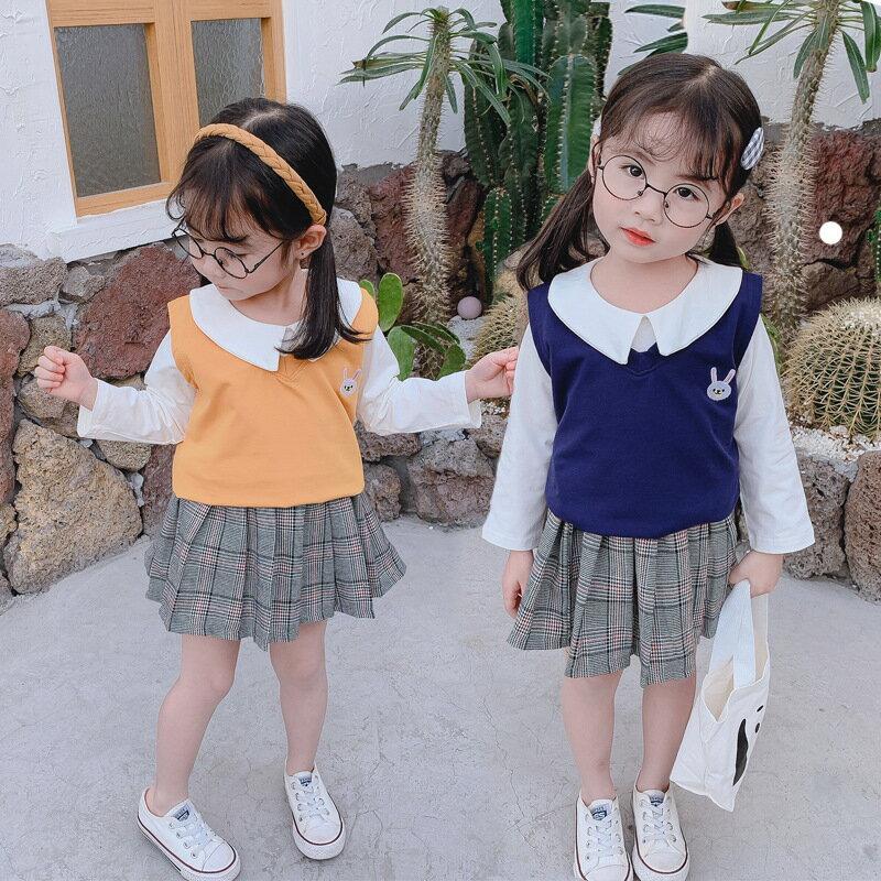 2020新款嬰幼兒長袖春秋款女寶寶童裝甜美時尚女童衣服三件套0-4