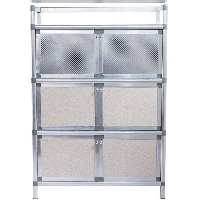 菜架帶門放碗放置密封碗柜防蟲家用廚房鋁合金置物架三層儲物柜