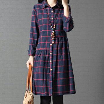 全店65折滿$599免運 寬鬆格子純棉襯衫裙洋裝 (2色,M~2XL) - ORead 自由風格 2