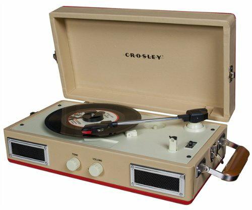 ::bonJOIE 預購:: Crosley Mini Turntable 奶油紅款 迷你手提箱黑膠播放機 (全新盒裝) 可攜式 攜帶型 唱盤 播放器材 音響 音箱