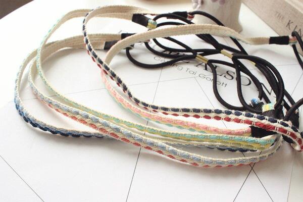 韓版棉線編織彈力髮帶