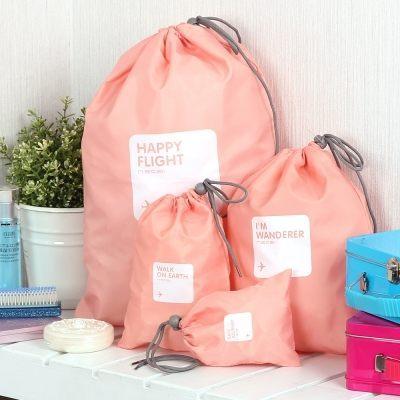 ♚MY COLOR♚四入韓版旅行袋組 束口旅行收納袋組 鞋袋 防水收納袋 整理包 旅行袋行李箱【N04】