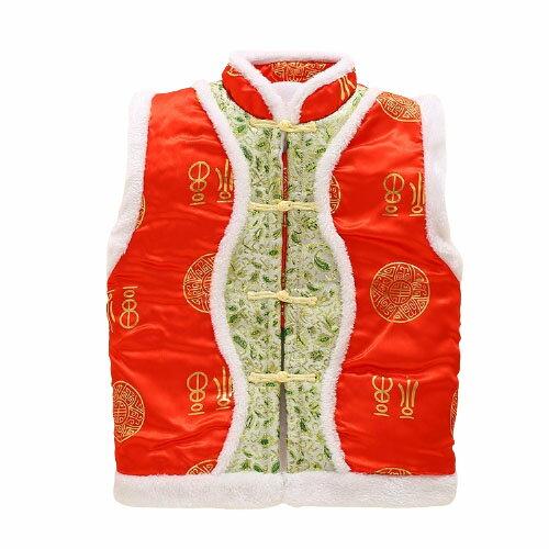 刺繡花紋中國風棉絨毛領唐裝新年背心 小童 新年 刺繡背心 橘魔法 寶寶 唐裝 過年 大紅 旗袍背心【p0061221785939】