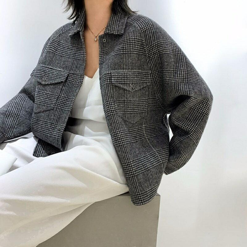 毛呢大衣羊毛外套-短版格紋時尚單排扣女外套73wb14【獨家進口】【米蘭精品】 0