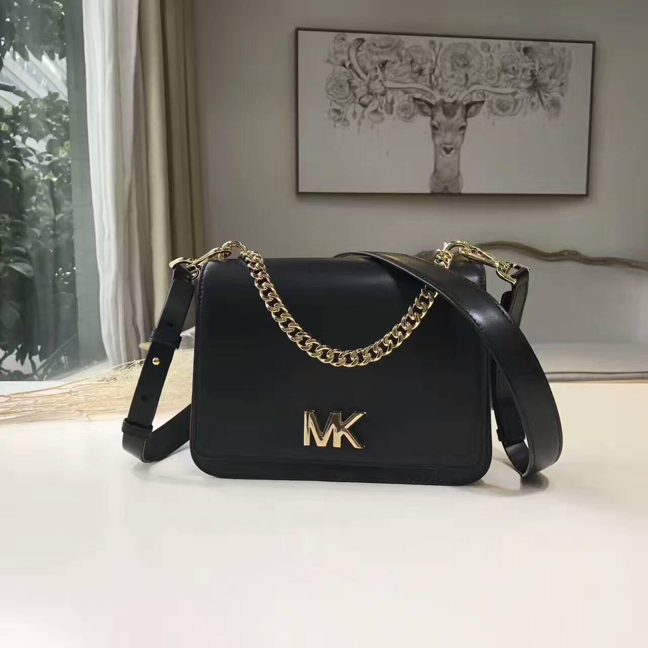 OUTLET美國代購 Michael Kors MK 字母LOGO鍊條翻蓋方包 鍊條包 斜背包 肩背包 黑色
