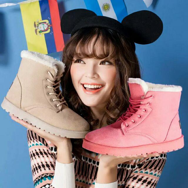 預購 加絨綁帶可愛雪靴 保暖雪靴 綁帶雪靴—泰韓記™—