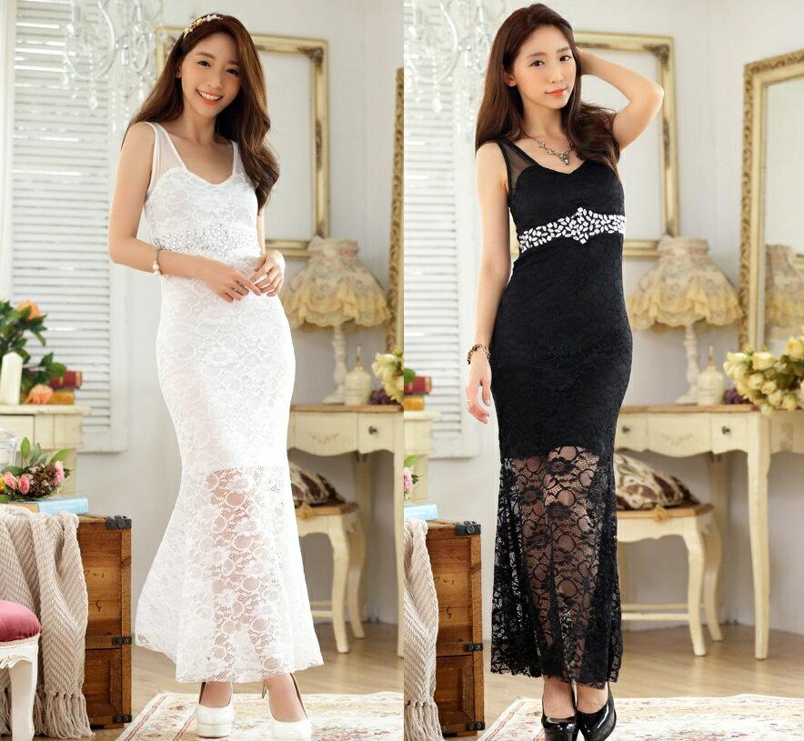 天使嫁衣【J2K9663】2色中大尺碼性感蕾絲無袖釘珠修身長款禮服洋裝˙預購訂製款