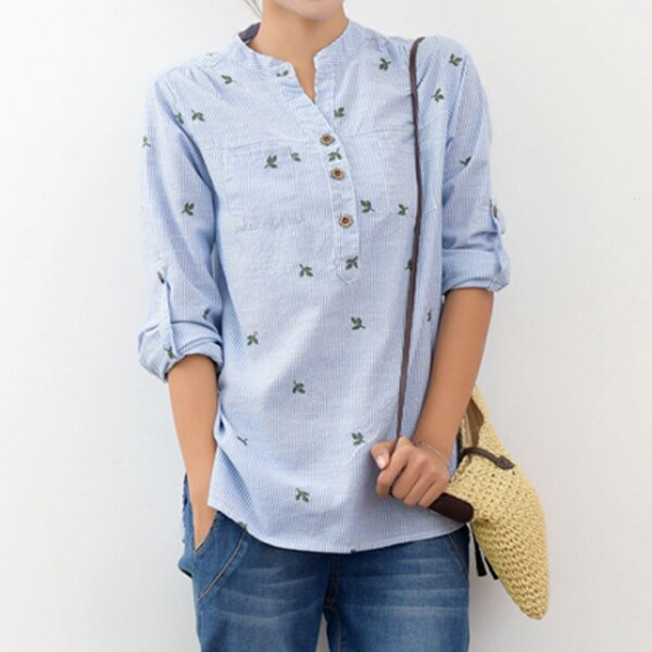 襯衫 文青風立領刺繡葉子條紋襯衫上衣 日系 ~87~22~8515~ibella 艾貝拉