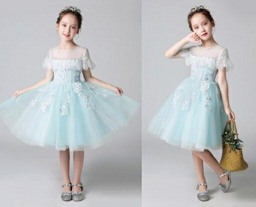 天使嫁衣【童L0240】淡藍色網紗透肩假一字領女童短禮服˙預購訂製款