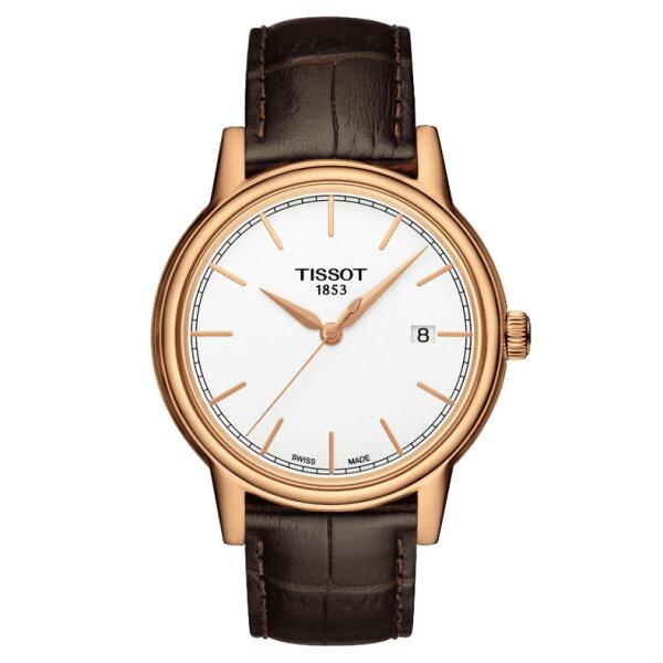 TISSOT天梭T0854103601100CARSON系列經典石英腕錶玫瑰金40mm