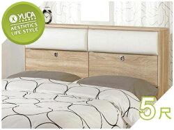 床頭箱【YUDA】凱文 5尺 橡木紋雙人床頭箱/床頭櫃 J8F 053-1