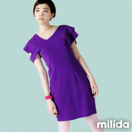 【Milida,全店七折免運】-早春商品-素色款-合身公主袖洋裝 3