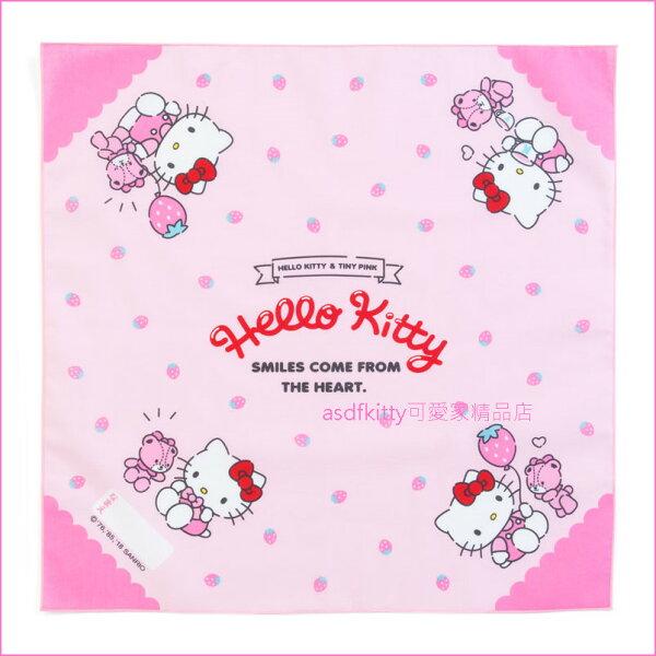 asdfkitty可愛家☆KITTY粉草莓泰迪熊桌墊餐墊桌巾大手帕-43*43公分-防止兒童弄髒桌子-日本製