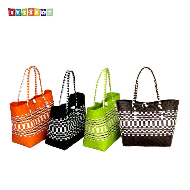DecoBox波希米亞環保中購物袋(2個)(購物袋,野餐.手工編織包)