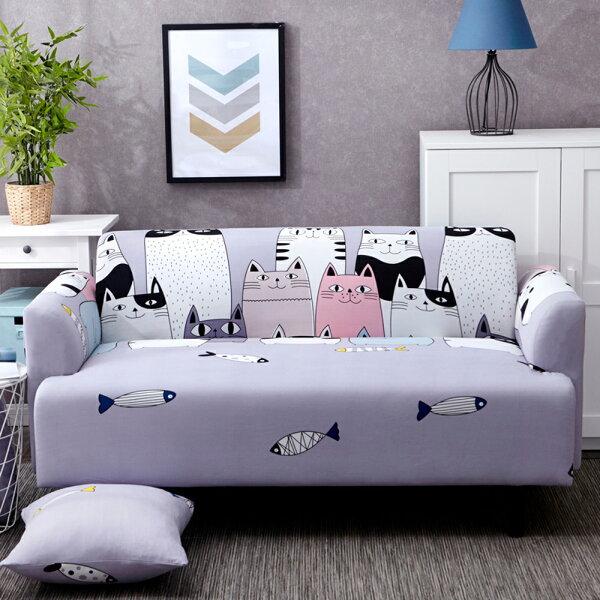 巴芙洛家居生活館:【巴芙洛】貓咪樂園彈性沙發套2人(雙人)
