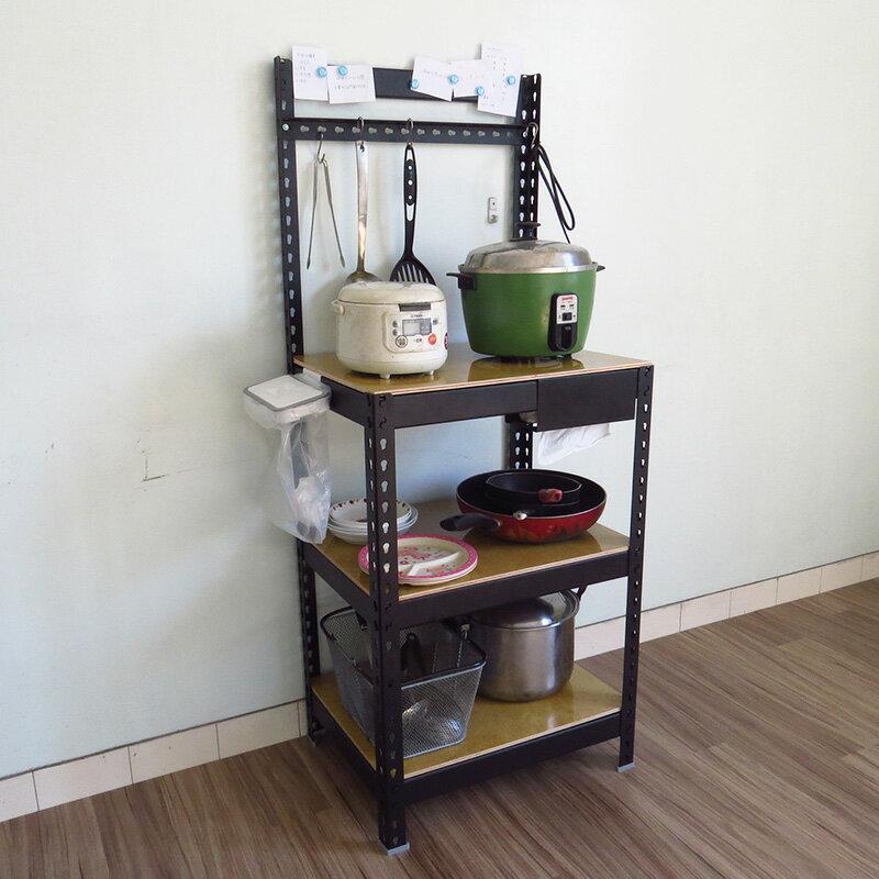 2尺黑色廚房收納架 瀝水架 微波爐架 烤箱架 電器架 鐵架 置物架 廚房架 KRB2153【空間特工】