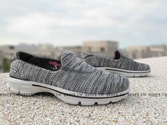 Shoestw【13987BKGY】SKECHERS 健走鞋 輕便鞋 GO WALK3 灰黑 編織 女款 瑜珈鞋墊