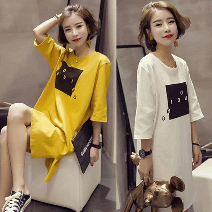 糖衣子輕鬆購~HY3260~ 寬鬆印花5分袖長版T恤開岔連身裙