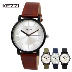 KEZZI珂紫 K-1668 光芒刻度復古刷色皮質錶帶文青錶