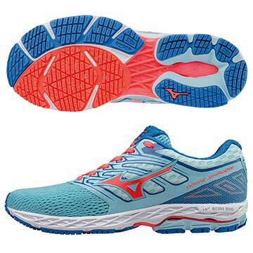 J1GD173055(粉藍X橘紅)最新雲波浪WAVESHADOW(W)女輕量慢跑鞋A【美津濃MIZUNO】