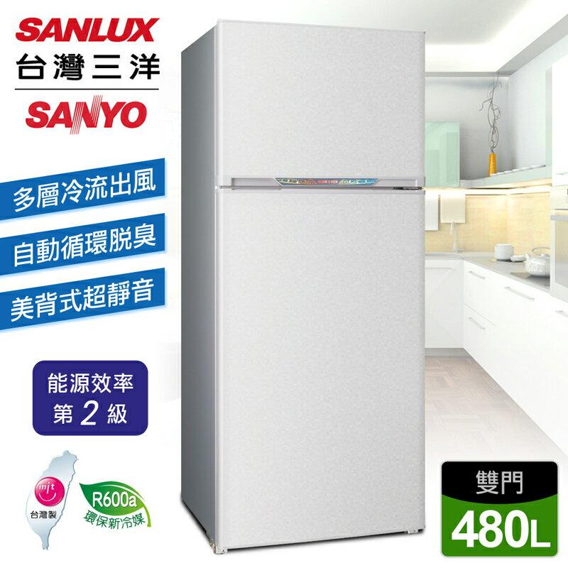 <br/><br/>  【台灣三洋 SANLUX】480公升雙門定頻冰箱/銀色(SR-B480B)<br/><br/>