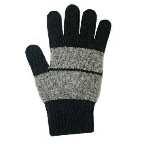 【藏青X淺灰】條紋純羊毛手套100%紐西蘭美麗諾