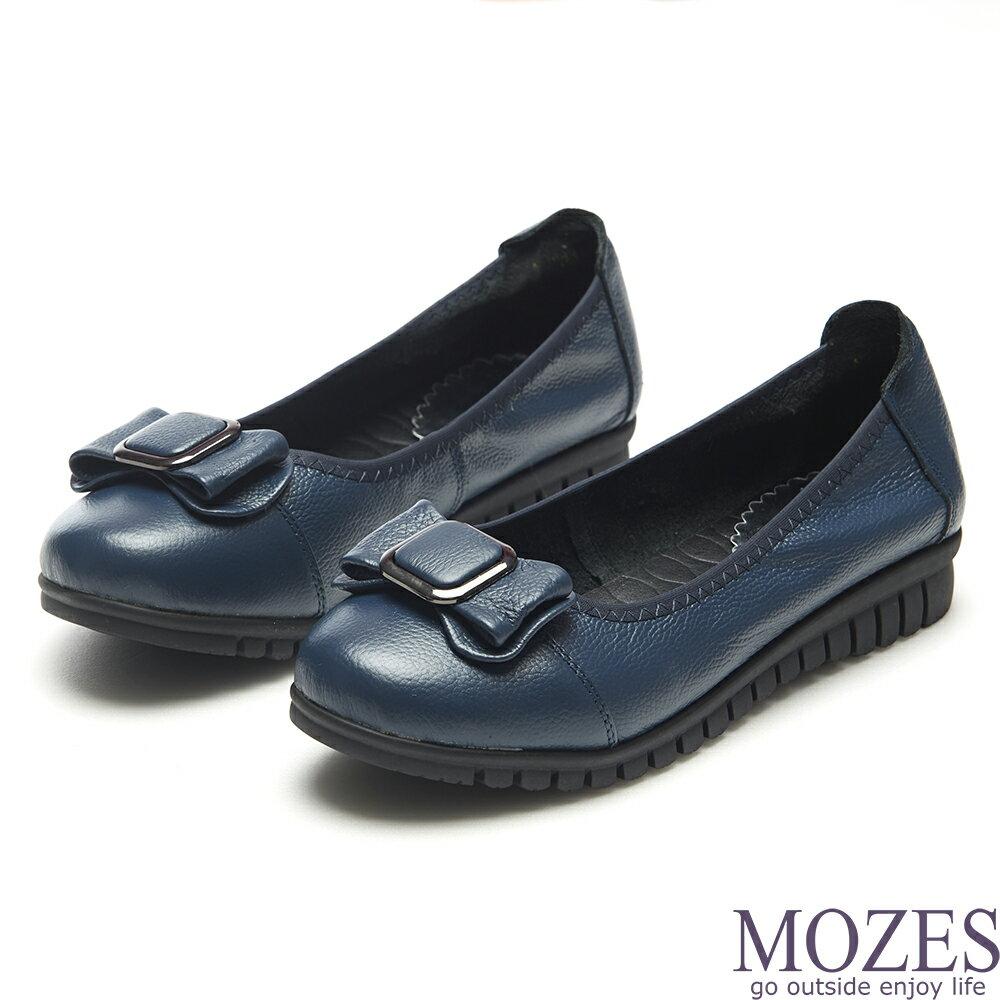 【MOZES】小牛皮蝴蝶結飾寬楦平底鞋-藍