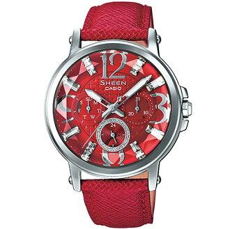 CASIO SHEEN SHE-3035L-4A閃星亮紅時尚腕錶/紅色38.4mm