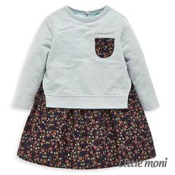 Little moni 小碎花拼接洋裝-淺綠色
