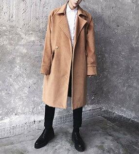 FINDSENSEG6韓國時尚大翻領加棉加厚保暖毛呢大衣潮男中長款風衣外套
