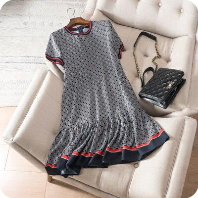 連身裙短袖連衣裙-時尚撞色拼接荷葉邊女上衣73sz50【獨家進口】【米蘭精品】