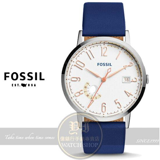 FOSSIL美國品牌Vintage復刻風尚腕錶-藍/40mm ES3989公司貨/禮物/情人節