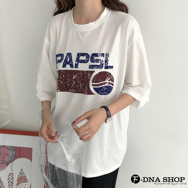 F-DNA★PAPSL拓印英文印字圓領五分袖上衣T恤(2色-M-2XL)【ET12705】 8